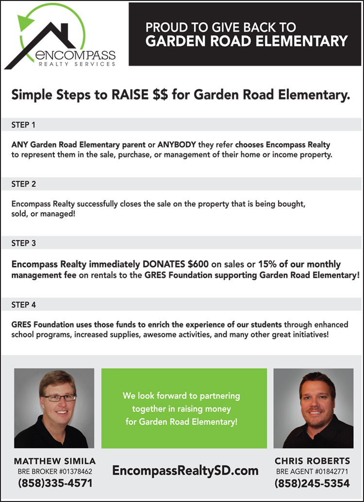 "Encompass Realty ""Gives Back"" to Garden Road Elementary in Poway, CA"
